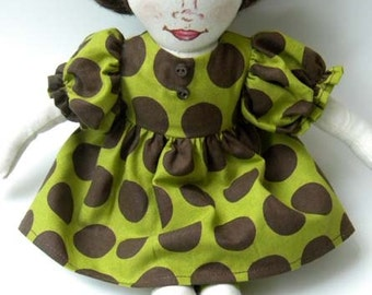Handmade Fabric Art Doll With Polka Dot and Green Eyes