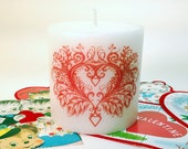 Fancy Red Heart Valentine Candle, Valentines Day Decor, Valentine Decoration, Red & White Candle, Decorative Candle, Valentine Heart,