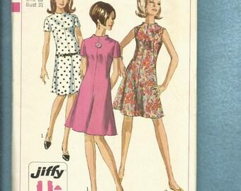 1967 Simplicity 7141 Flared French Dart Raised Neckline  Mod Dresses  Size 10 UNCUT