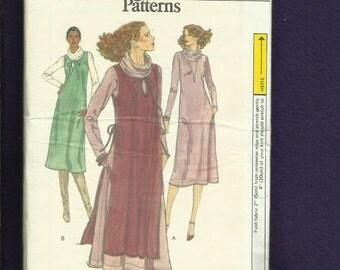 Vintage 1970's Vogue 9932 Cowl Neck Tee Shirt Dress with Over Jumper  Size 12 UNCUT