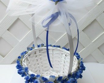 Royal Blue Rose Flower Girl Basket, Cobalt Blue Flower Girl Basket, Royal Blue Wedding, Cobalt Wedding, Royal Blue Wedding Basket