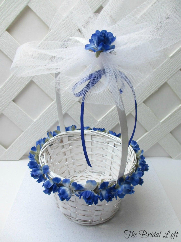 royal blue rose flower girl basket cobalt blue flower girl. Black Bedroom Furniture Sets. Home Design Ideas