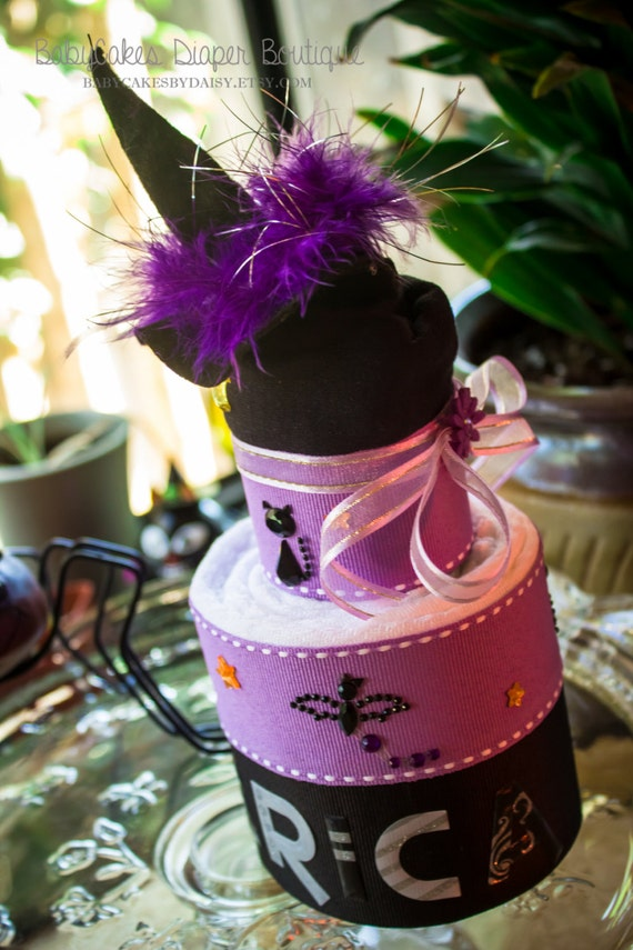 Halloween Baby Cake | Purple and Black Baby Shower Cake | Baby's First Halloween Cake | Halloween Shower Baby Cake Gift