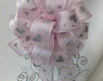 Pink and Silver Hearts Gift Bow - Valentines Bow - Baby Shower Bow - Gift Bow -