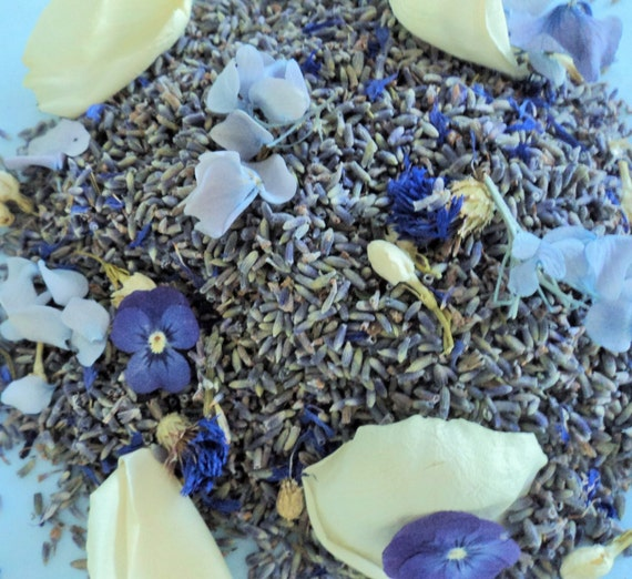 BRIDAL LAVENDER™, Something Blue Flower Confetti, biodegradable, laced with white rose petals, hydrangea, larkspur, for fairy tale endings