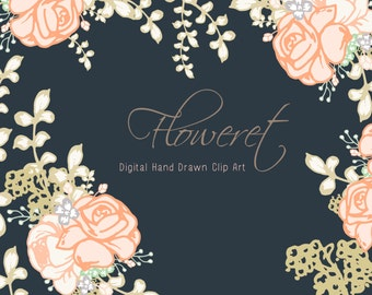 Hand drawn florals digital clip art - Floweret