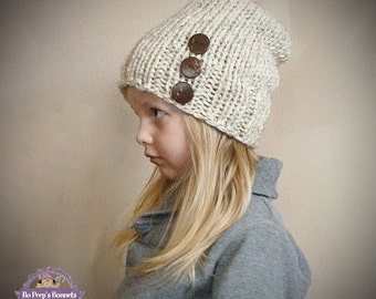 Toddler Slouch Hat in Wheat with Three Natural Coconut Buttons, Girls Slouchy Beanie, Slouch Beanie Boys Kids Children Toddler Knit Hat