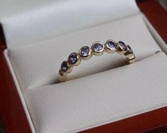 Tanzanite Yellow Gold Eternity Ring/wedding ring