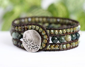 Indian Agate Beaded Leather Cuff, 3 Row Bracelet, Leather Jewelry, Earthy, Green Bracelet, Boho Fashion, Brown Leather Wrap Bracelet