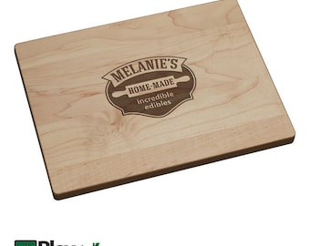 Personalized Engraved Cutting Board with Rolling Pin Design, Personalized Gift, Hardwood, Custom Cutting Board