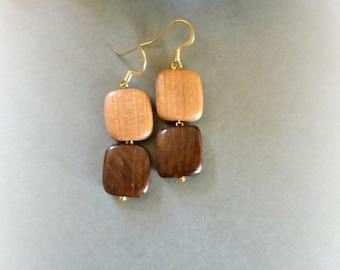 Earthy tone earrings , 5th anniversary gift for wife ,  Eco wood jewelry , Dangle casual earrings for women