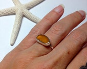 Sea Glass Ring Sz 5.25 Amber Brown Mermaid Jewelry Hammered Sterling Silver