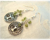 TREE OF LIFE Earrings: Green Peridot Dangles, Nature Jewelry, Yoga inspired Chakra Boho Bohemian Confidence Energy gift under 25