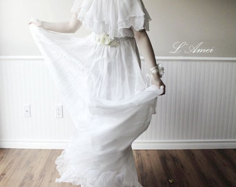 Off  shoulder White Silk Chiffon Long Beach Wedding Bridal Dress. Great for Hipster Boho Wedding.