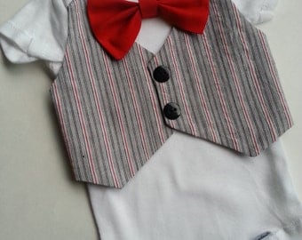 Baby Boy BodysuitWith A Grey Striped Vest Attached And A Red Bow Tie.