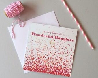 Daughter birthday card. Happy Birthday Daughter card. Modern daughter card. Hand finished modern birthday card