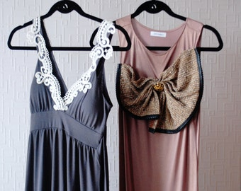 SALE DUSTY ROSE dress~ Clearance dress ~ Maxi dress ~ Stretch jersey ~ Big brown bow ~ Evening dress ~ Party dress