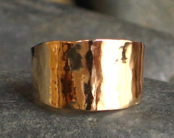 Cigar band, Wide gold ring, wedding band, wedding ring, statement ring, wide gold band, hammered gold ring, 14k gold ring, rose gold ring