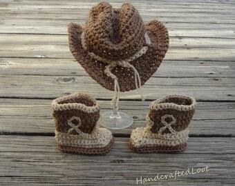 Crochet Newborn Baby Cowboy Hat & Boots Photo Prop Set Outfit Shower Gift Keepsake 0-3,3-6 Months