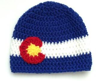 Handmade Crochet Baby/Toddler Child/Teen/Adult Colorado Flag Beanie Hat- Black, Blue or Pink