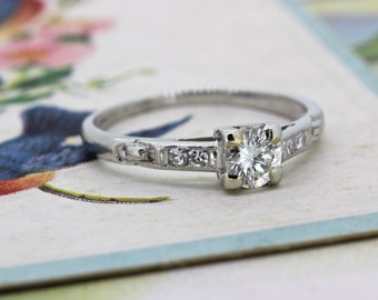 Art Deco Engagement Ring | Vintage 1930s Ring | Antique Platinum Wedding Ring | 1940s Engagement Ring | Dainty Diamond Ring | Size 5.75