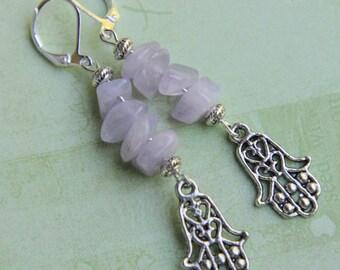 Hamsa earrings. Hamsa hand earrings. Hand earrings. Spiritual earrings.Evil eye earrings. Amethyst earrings. Protection lever back earrings.