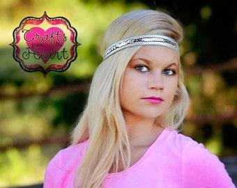 Silver Boho Headband - Silver Sequin Headband - Womens Boho Headband - Bohemian Headband - Hippie Headband - Womens Headband  Adult Headband