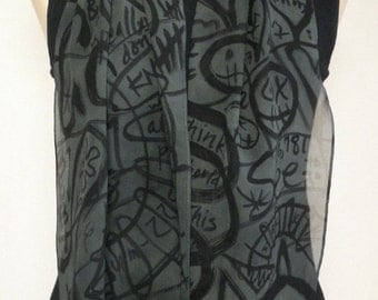Hand Painted Silk Chiffon Scarf - Slate gray doodles