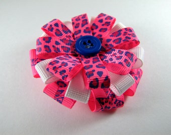Neon Pink & Blue Hair Bow with Cheetah Print and Stars, Animal Print Hair Clip for a Birthday Gift or Baby Shower Gift, Hair Accessory
