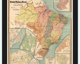 Old Map Brasil 1921 Mapa do Brasil
