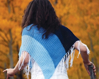 BLUE Short Fringe Poncho. Ombre Blue Fall All Seasons Cropped Light Jacket, Sweater, Cardigan Alternative. Hand Knitted Fashion Garment.