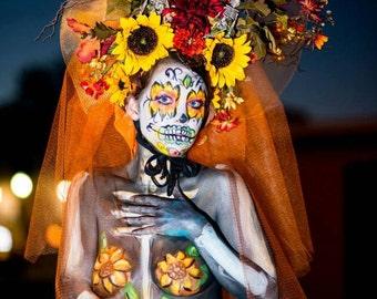 Autumn Los Muertos Sugar Skull Day of the Dead Headdress Headpiece Orange Daisy