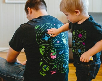 Dad and Son Shirts, Space Shirt, Fathers Day Shirt from Daughter, Father Son Matching Tshirts, Play Mat Shirt, Outer Space, Alien Shirt