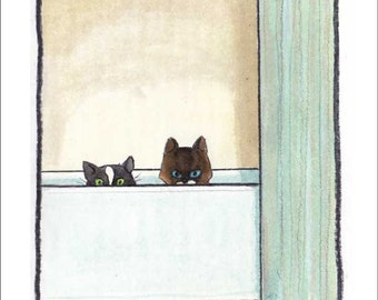 Tub Cats 9 x 12 giclee print of a watercolor by David Lasky