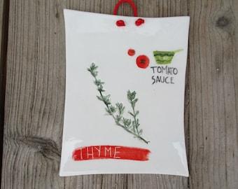 Thyme Kitchen Picture,Ceramic Handmade Kitchen Wall Hanging,Tile,Kitchen Decor,Tuscan Style Kitchen,Green,Red,Mediterranean Herbs,Thime Tile