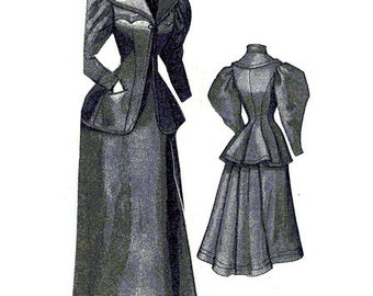 AG1895 - 1894 Beige Walking or Traveling Suit Sewing Pattern by Ageless Patterns
