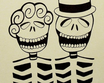 Skeleton Couple, Day of the Dead (Dia de los Muertos) Mexican Skull Goth Art - Original 9x12 Ink Marker Drawing Black White