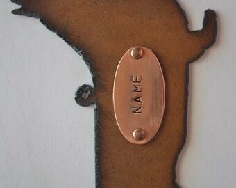 Rustic Rusty Rusted Recycled Metal Custom Personalized Hand Stamped WELSH PEMROKE CORGI Ornament or Magnet
