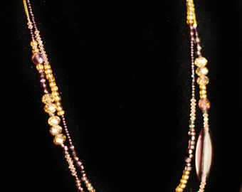 Purple and Champagne Sparkly Two Strand Necklace
