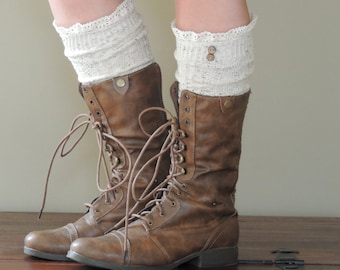 Knee High Boot Socks with Lace and Buttons - Oatmeal Mocha or Ivory