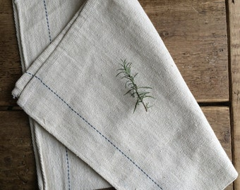 Vintage Hemp Tablecloth / Tea Towel, Vintage Table Decor