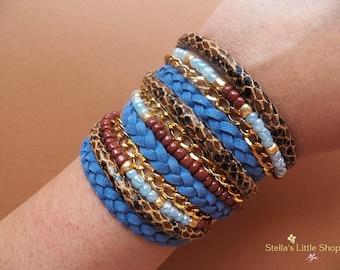 Blue Wrap Bracelet, Braided Bracelet, Beaded Bracelet, Triple Wrap, Gift
