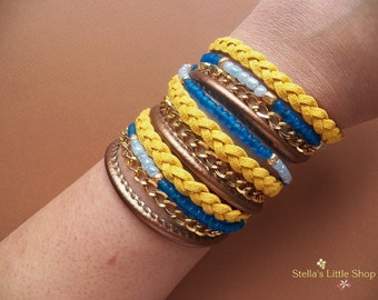 Wrap Bracelet, Leather Braided Bracelet, Beaded Boho Triple Wrap