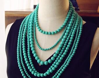 Dramatic Multi Strand Bib Necklace, Turquoise Aqua Statement Necklace