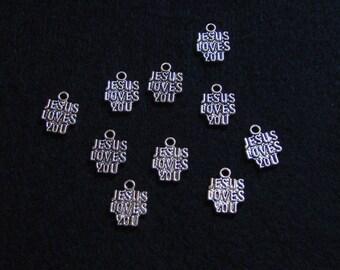 Ten Silver Charms - Jesus Loves You - Tibetan Silver