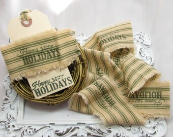 Tattered Fabric, Frayed Ribbon, Happy Holidays, Hand Stamped Fabric Trim, Home Decor, Scrapbook Embellishments, Vintage, Package Ties - 1