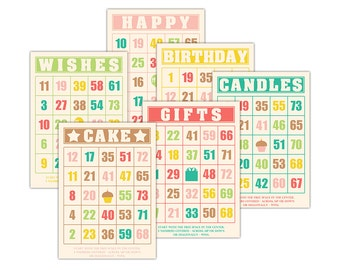 """Digital Birthday Bingo Cards/ scrapbooking / paper crafts / ephemera cards / 5"""" by 7"""" and 3.5 by 5"""" / downloadable / printable PDF / pastels"""