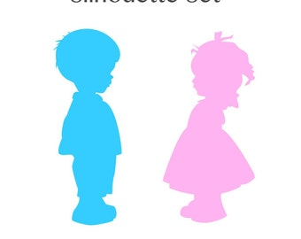 Boy & Girl Silhouette Set - Blue and Pink
