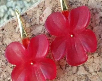 Lucite flower earrings, red orchid