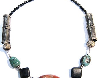 Antique Carnelian Stone Necklace. Afghan Agate Beads. Turquoise. Thai Hilltribe Silver. Antique African Silver.